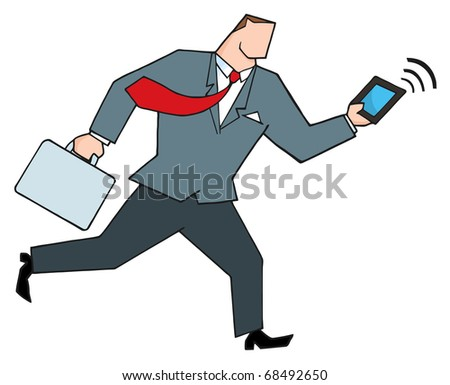 Businessman Running With Suitcases And Tablet - stock vector