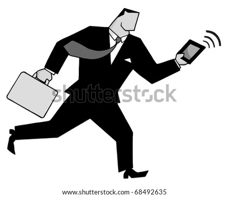 Businessman Running With Suitcases And Tablet In Gray - stock vector