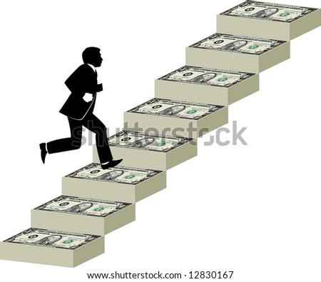 Businessman runs up a stairway made of money - stock vector