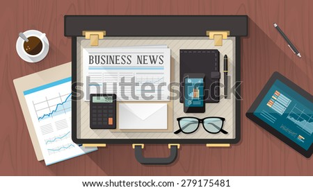 Businessman's briefcase on a wooden desktop with tablet, smartphone, financial report, newspaper and organizer - stock vector