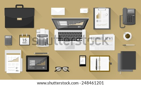 Businessman's desk with laptop, tablet smart phone and stationery - stock vector