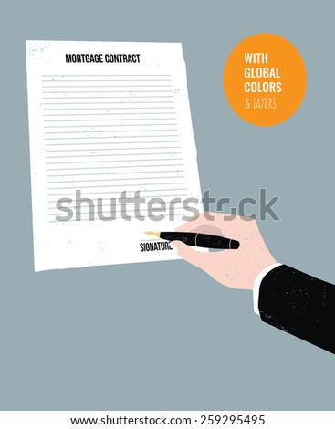 Businessman's hand signing a mortgage contract. Vector illustration Eps10 file. Global colors & layers. - stock vector