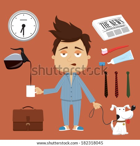 Businessman's morning illustration. Vector elements and accessories - stock vector