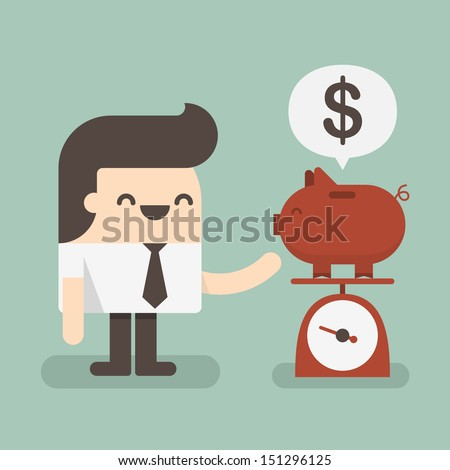 Businessman saving money in a piggy bank  - stock vector