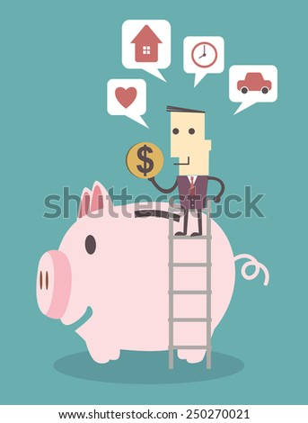 Businessman saving money in a piggy bank on blue background illustration vector file eps 10 - stock vector