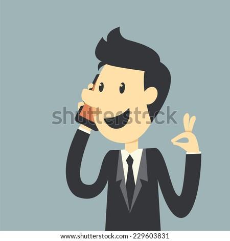 Businessman say Hello - stock vector