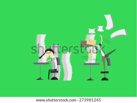 businessman screaming as unfinished paperwork and But because the job is complete.He was a happy man - stock vector