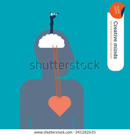 Businessman seeing something from a rational perspective. Vector illustration Eps10 file. Global colors. Text and Texture in separate layers. - stock vector