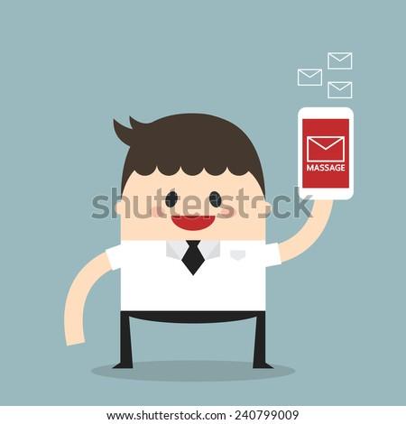 Businessman sending messages by smartphone, flat design, vector  - stock vector