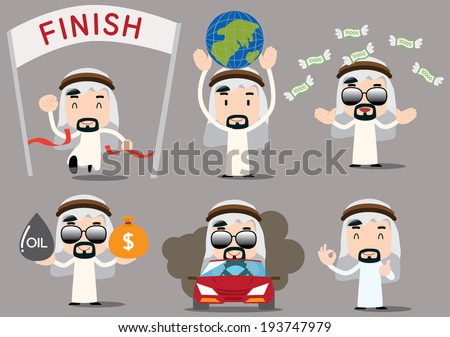 businessman series - arab rich - stock vector