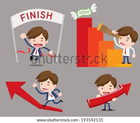 Businessman series - growth - stock vector