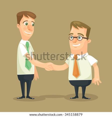 Businessman shaking hands. Vector flat illustration - stock vector
