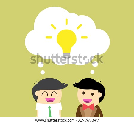 businessman Share Idea. cartoon flat design. Business plan concept. Vector illustration. two business man yellow background. team teamwork.Brainstorming. fix the problem. - stock vector