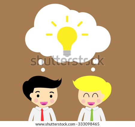 businessman Share Idea. cartoon flat design. Business plan concept. Vector illustration. two business man dark red background. team teamwork.Brainstorming. fix the problem. Key to success - stock vector