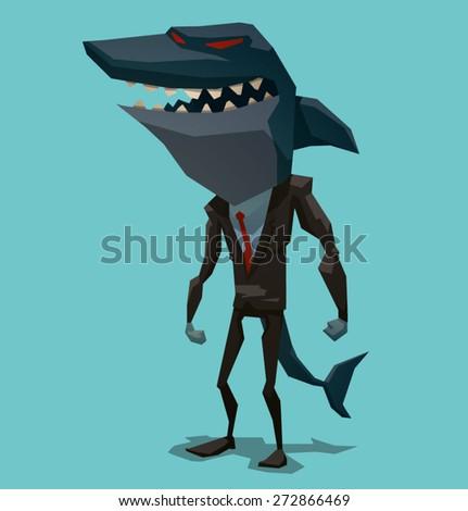 Businessman shark, vector - stock vector