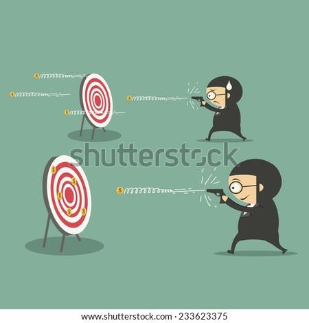 businessman shooting a target - stock vector