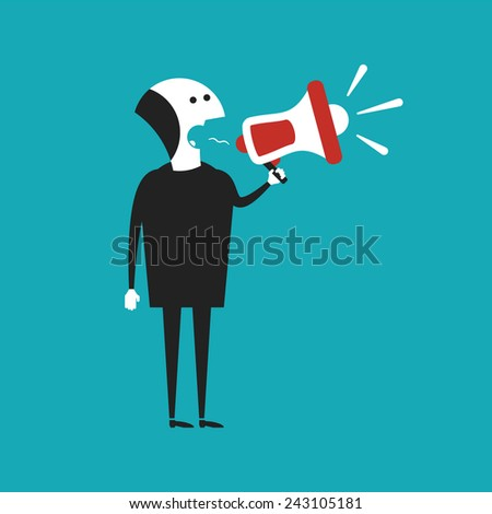 Businessman shouting in megaphone vector concept in flat cartoon style - stock vector