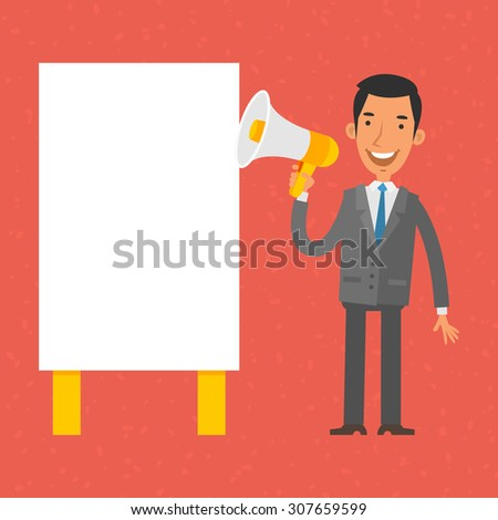 Businessman shouting into megaphone - stock vector