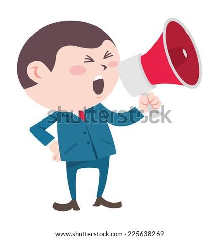 businessman shouting using megaphone - stock vector