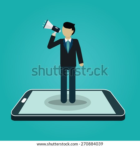 Businessman shouting with loudspeaker from smart phone. Digital marketing. business concept. vector - stock vector