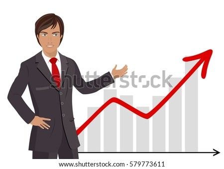 businessman showing a charts with red arrow going up isolated