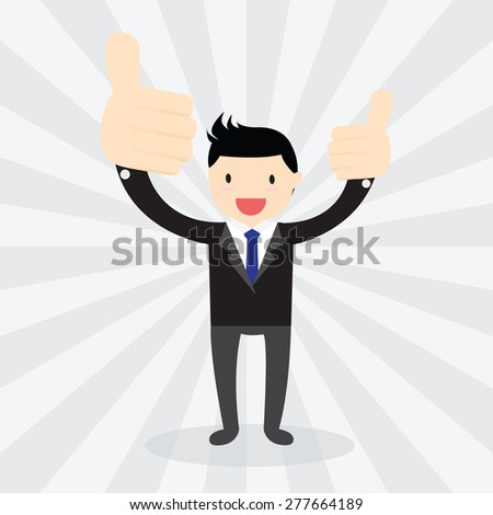 Businessman showing big thumb up. Like hand sign. - stock vector