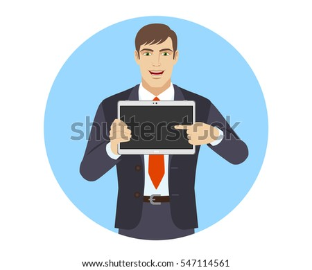 Businessman showing blank digital tablet PC. Businessman pointing at tablet computer. Portrait of businessman in a flat style. Vector illustration.