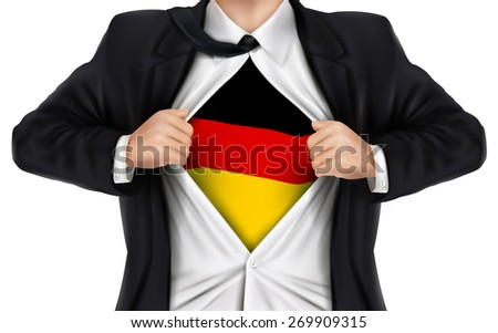 businessman showing German flag underneath his shirt over white background - stock vector