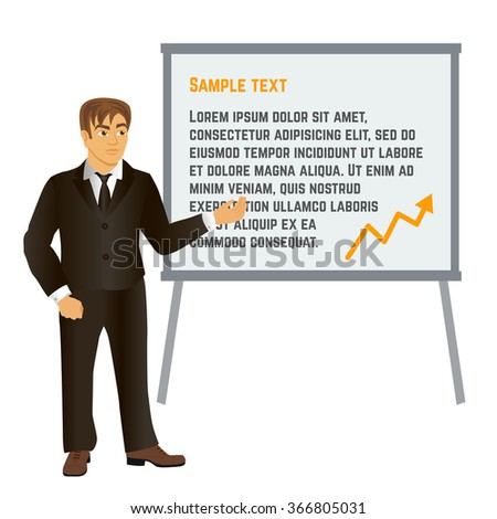 Businessman showing information on the whiteboard Vector cartoon illustration - stock vector