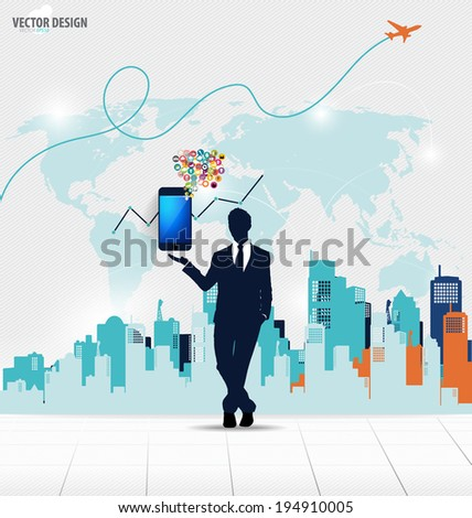 Businessman showing touchscreen device with cloud of colorful application. Vector illustration. - stock vector