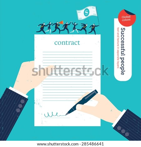 Businessman signing a contract businesspeople marching on it with money flag. Vector illustration Eps10 file. Global colors. Text and Texture in separate layers. - stock vector
