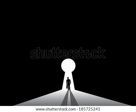 Businessman silhouette standing front of keyhole door concept. nicely dressed business man in suit with suitcase stand thinking, dreaming, planning solution for big problem. - stock vector