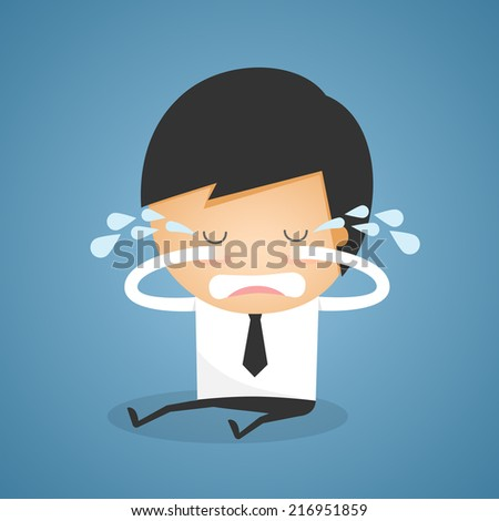 Businessman sit crying - stock vector