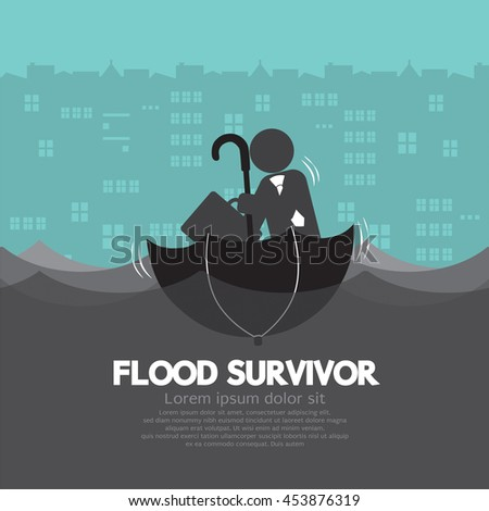 Businessman Sit In The Up Side Down Open Umbrella Flood Survivor Vector Illustration