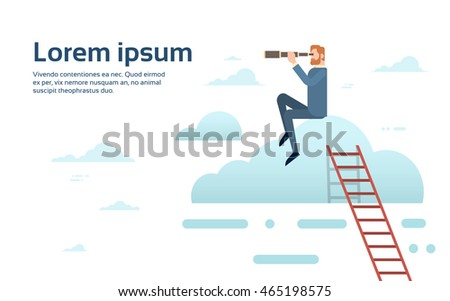 Businessman Sit On Cloud With Binoculars Successful Future Flat Vector Illustration