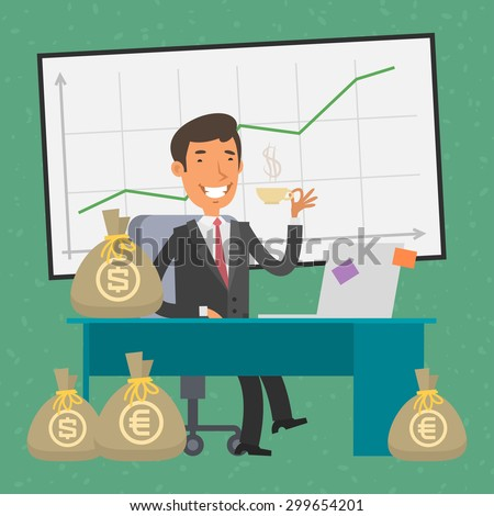 Businessman sitting at table and money - stock vector