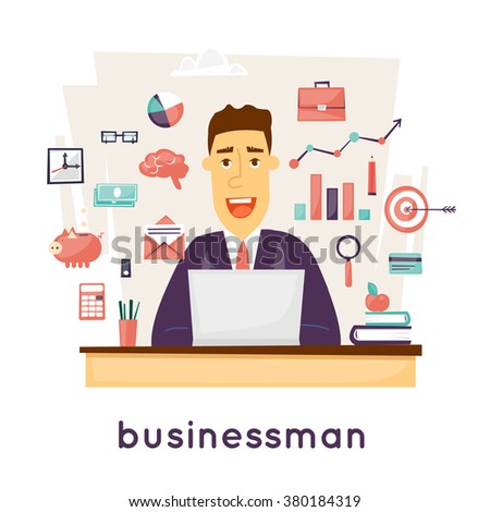 Businessman sitting at the table in the office and set of icons. character design. Vector illustration flat design. - stock vector
