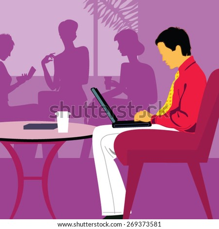 businessman sitting in cafe - stock vector