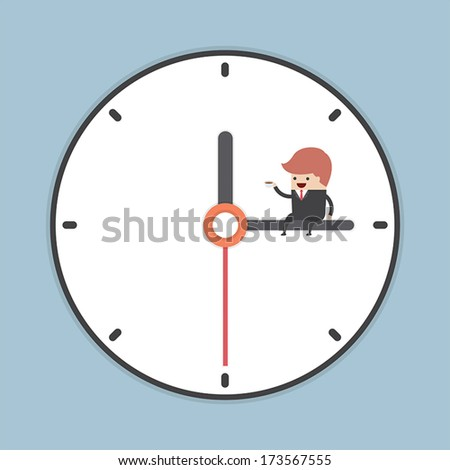 Businessman sitting on minute hand of clock with a cup of coffee, VECTOR, EPS10 - stock vector
