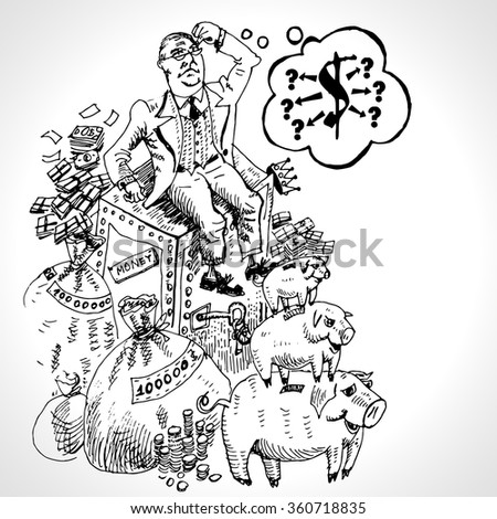 Businessman sitting on money bags, monetary safe, pigs moneyboxe. Financial success, prosperity and wealth concept. Vector illustration in vintage engraving style - stock vector