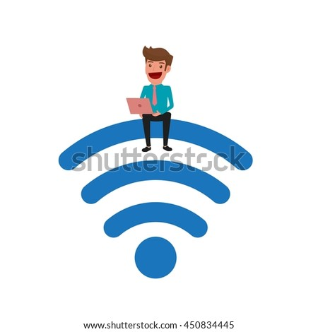 Businessman sitting on the wi-fi and using laptop. Wi-fi zone wireless connection technology. Internet wi-fi support business and lifestyle. Cartoon Vector Illustration. - stock vector