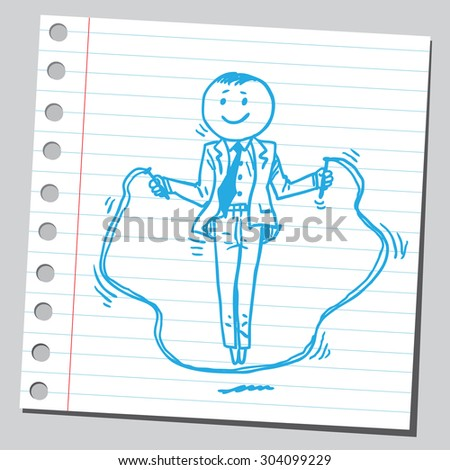 Businessman skipping rope - stock vector