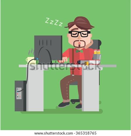 Businessman sleeping at works flat design - stock vector
