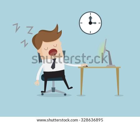 businessman sleeping front of computer on work table cartoon vector illustration - stock vector