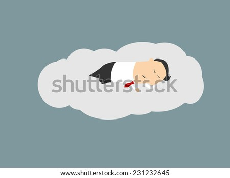 Businessman sleeping on a cloud, cartoon conceptual illustration for business or relax design - stock vector