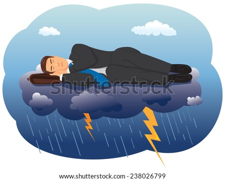 Businessman sleeping on a cloud with lightning - stock vector
