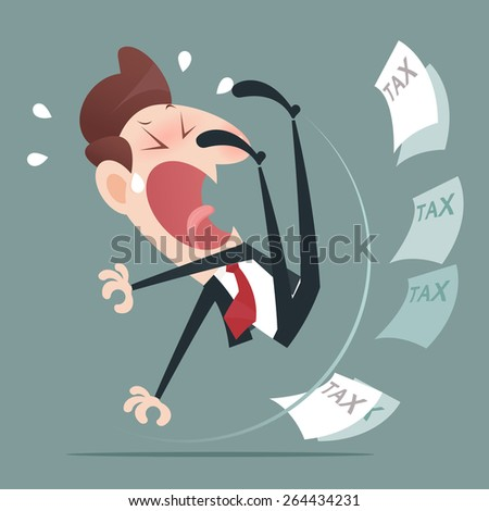 Businessman slip and a funny pose - stock vector