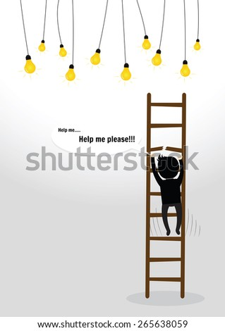 Businessman slipped and falls from the top of ladder - stock vector