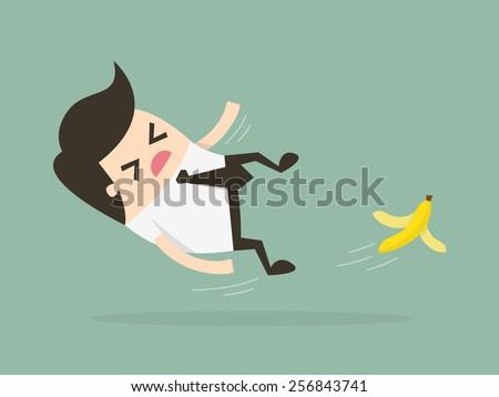 Businessman slipping on a banana peel. Business concept illustration. - stock vector