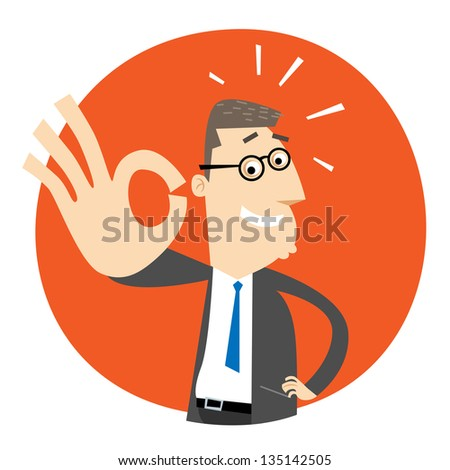 Businessman smiling and gesturing perfect sign - stock vector